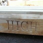 Carved lettering High